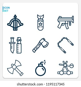 Simple set of  9 outline icons on following themes catapult, axe, nunchaku, crossbow, bomb, knife, machine gun web icons with high quality