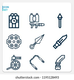 Simple set of  9 outline icons on following themes knife, kunai, nunchaku, spear, machine gun, flame thrower, revolver, knife web icons with high quality