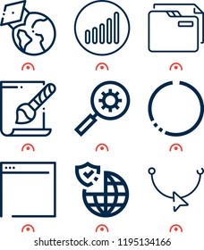 Simple set of  9 outline icons on following themes earth globe, circle, reshape, folder, signal, svg file, search, gdpr web icons with high quality