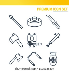 Simple set of  9 outline icons on following themes axe, knife, spear, nunchaku, bomb, mine, flame thrower web icons with high quality