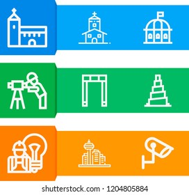 Simple set of  9 outline icons on following themes architecture, samarra, theatre, church, cctv, engineer, church web icons with high quality