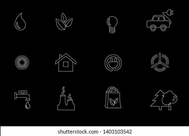 Simple set eco related line icons. icons electric car, global warming, forest, zero waste, alternative electricity, water, water conservation, environmental pollution on a black background, isolate.