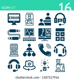 Simple set of  {ico_count} filled symbols such as monitor, computer, calculator, camera, coffee maker, telephone, support, audio jack, service, headset