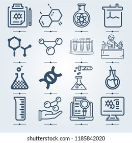 Simple set of  {ico_count} outline symbols such as experiment, cell, round flask, volumetric flask, test tubes, chemist working, atoms, chemistry, molecule, research