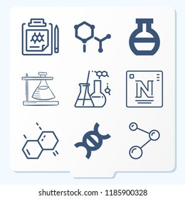 Simple set of  {ico_count} outline symbols such as cell, round flask, flask, periodic table, atoms, molecule, chemistry, flasks