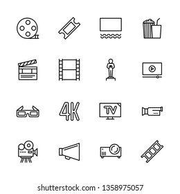 Simple set symbols cinema, filming cinema and film theater. Contains such icon movie, popcorn, cinema film, screen, award, glasses, 3d, 4k television camera video