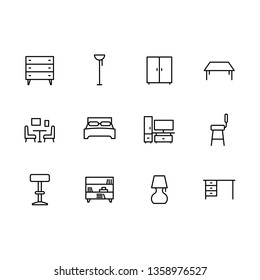 Simple set symbols furniture and interior room line icon. Contains such icon chest of drawers, wardrobe, chair, table for home office and living room, lamp, bed and bedroom design