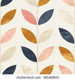Simple shapes seamless pattern on paper texture. Scandinavian design background