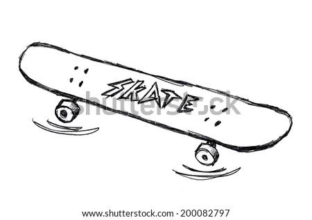88cc1b42906b9 Simple Skateboard Doodle Drawing On White Stock Illustration ...