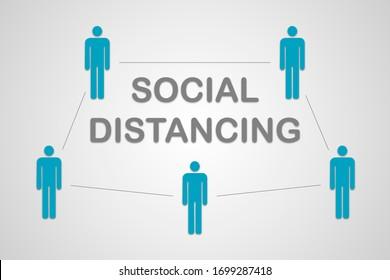 Graphique simple de la distanciation sociale avec des personnes autour d'un titre