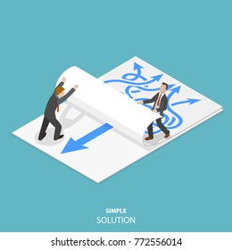 Simple solution flat isometric concept. Two man are taking away a paper sheet with many curved arrows to different directions on it to clear a new sheet that contains just one solid straight arrow.
