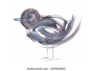 Simple standing bird watercolor illustration