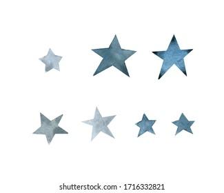 simple star, blue indigo set, watercolor hand drawing, illustration