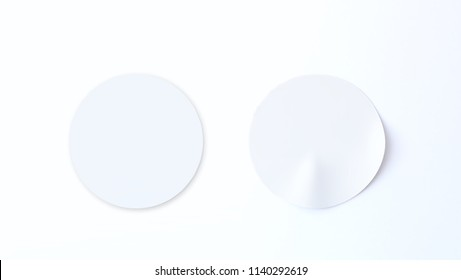 Simple sticker template, isolated on white background. 3d rendering