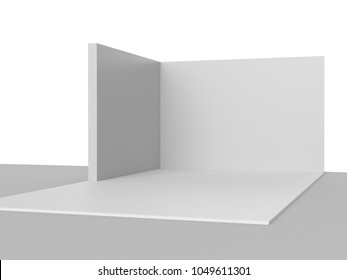 Simple Tri Walls Booth or Stand Concept. 3D rendering
