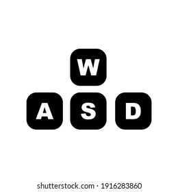 Simple WASD button icon with black style