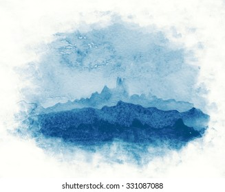 simple watercolor abstract landscape - sky and mountains