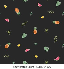 Simple watercolor pattern, palm leaves, pineapple and watermelon slice, naive design, dark retro background. monster leaves