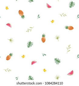 Simple watercolor pattern, palm leaves, pineapple and watermelon slice, naive design,  monster leaves. fruity minimalistic pattern