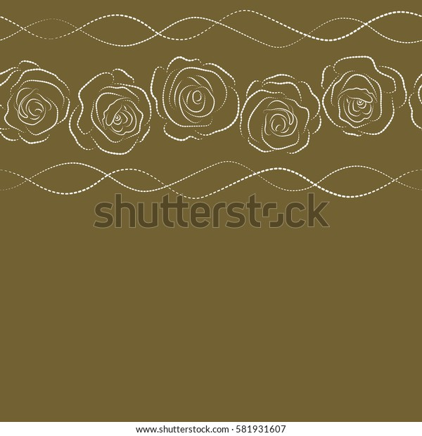 Simple white and brown horizontal roses silhouette seamless pattern with copy space (place for your text).