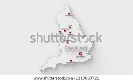 Map Of England Showing Major Cities.Simple White Map England Capital Major Stock Illustration 1119883721