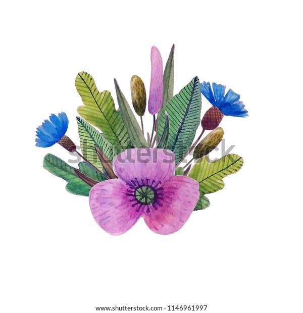 Simple Wild Flowers Stock Illustration 1146961997