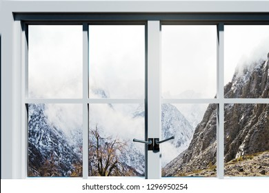 Simple window with landscape view. Home and design concept. 3D Rendering