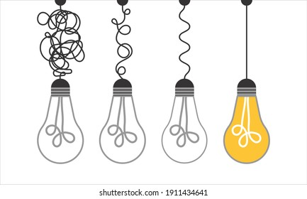 Simplification concept art with light bulb idea. Simple and creative think or search creative idea. Difficulty curve doodle path chaos. Untangle curve complex scribble illustration. Problem way