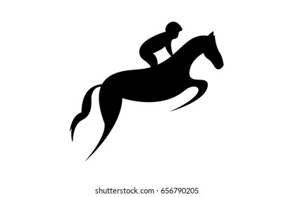 Simplified horse race.  Equestrian sport. Silhouette of racing horse with jockey. Jumping. Second step.