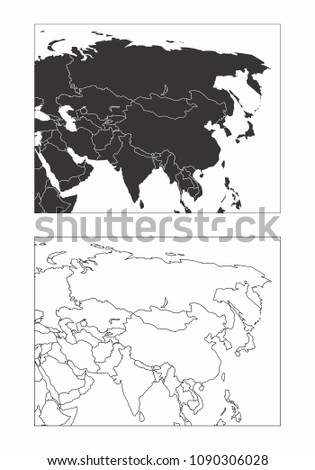 Map Of Asia Black And White.Simplified Maps Asia Countries Borders Black Stock Illustration
