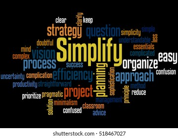Simplify, word cloud concept on black background.