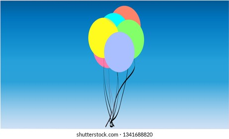 A simplistic drawing of balloons.