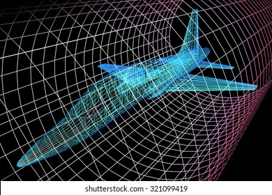 Simulation of an aircraft model being analyzed in wind tunnel for aerodynamic effects on its structure - 3d presentation