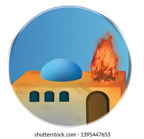 Simulation of a building, with fire,Tomb of Rabbi Shimon bar Yochai