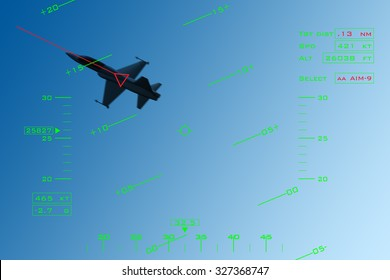 Simulation of HUD (head-up display) of a fighter intercepting an enemy aircraft during dogfight