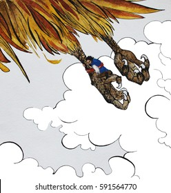 Sinbad flying on giant bird Roc, mythological bird, hand drawn watercolor illustration