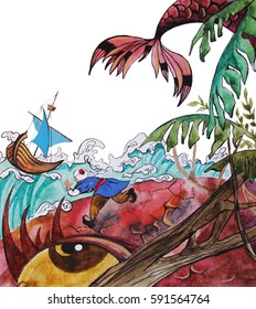 Sinbad on giant fish, fairy tale, hand drawn watercolor illustration