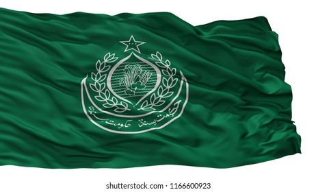 Sindh City Flag, Country Pakistan, Isolated On White Background, 3D Rendering