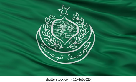 Sindh City Flag, Country Pakistan, Closeup View, 3D Rendering