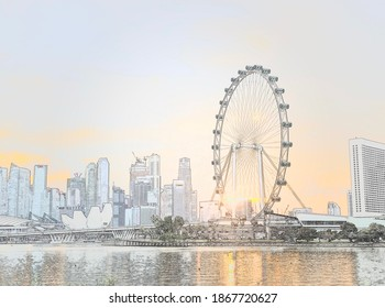 Singapore: 18 October 2020 - Sketches image of Singapore skyline featuring Marina Bay Sands, Singapore Flyer, Marina Bay Financial Centre and more by the river