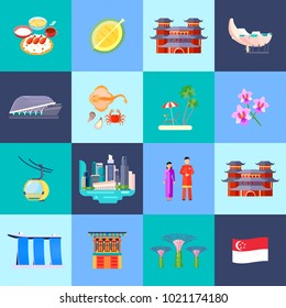 Singapore culture colored flat icon set with main attractions in little circles  illustration