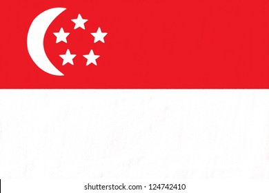 Singapore flag drawing by pastel on charcoal paper