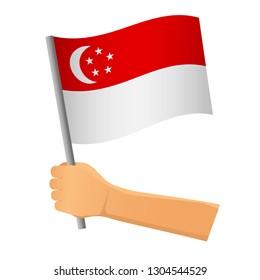 Singapore flag in hand. Patriotic background. National flag of Singapore  illustration