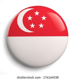 Singapore flag icon. Clipping path included.