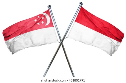 Singapore flag with Indonesia flag, 3D rendering