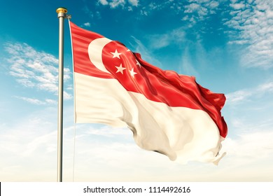 Singapore flag on the blue sky with cloud. 3D illustration