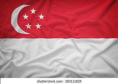 Singapore flag on the fabric texture background,Vintage style