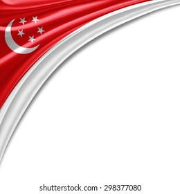 Singapore  flag of silk with copyspace for your text or images and white background