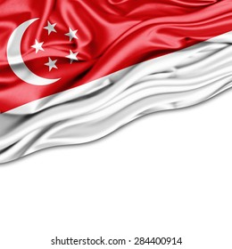 Singapore  flag of silk and white background