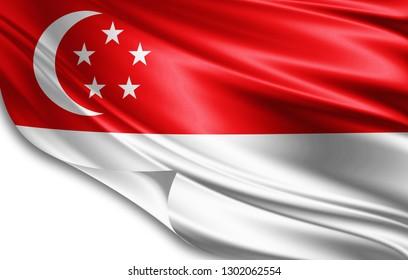 Singapore  flag of silk-3D illustration